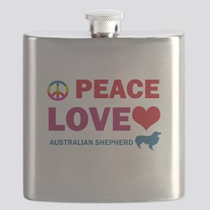 Peace Love Australian Shepherd Flask