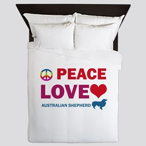 Peace Love Australian Shepherd Queen Duvet