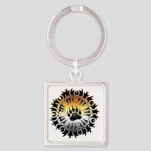 Tribal Bear Pride Paw Square Keychain