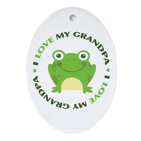 Love Grandpa Frog Ornament (Oval)