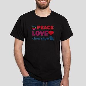 Peace Love Chow Chow Dark T-Shirt