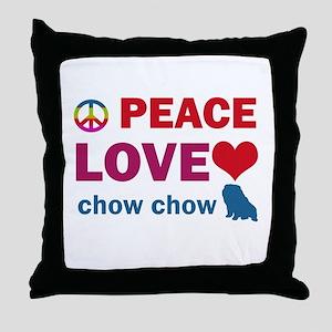 Peace Love Chow Chow Throw Pillow