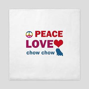 Peace Love Chow Chow Queen Duvet