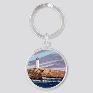 Peggy's Cove Lighthouse Round Keychain