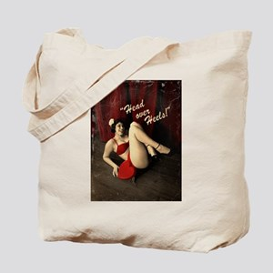Pin Up Girl Head Over Heels Tote Bag