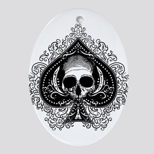Skull Ace Of Spades Ornament (Oval)