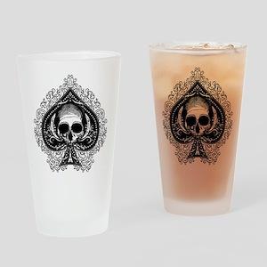 Skull Ace Of Spades Drinking Glass