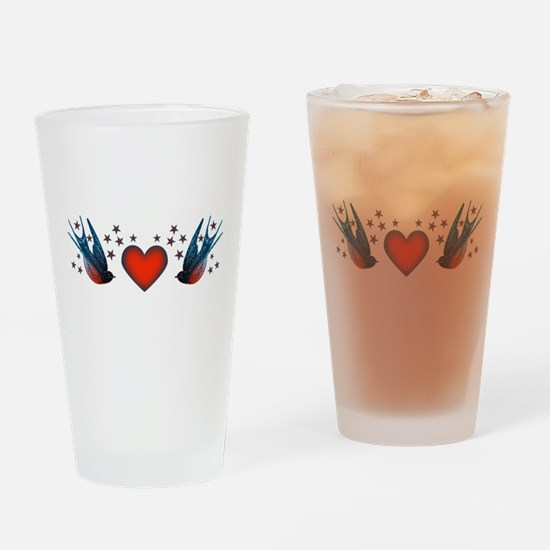 Retro Swallows And Stars Heart Drinking Glass