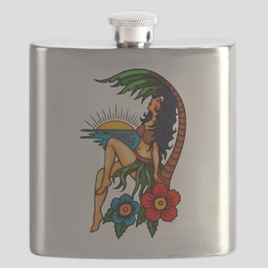 Island Sunset Tattoo Art Flask