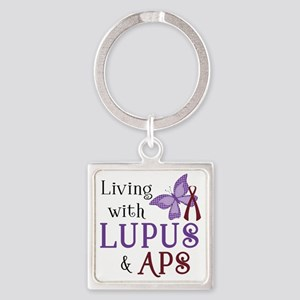 Living with Lupus APS Square Keychain