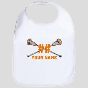 Personalized Crossed Lacrosse Sticks Orange Bib