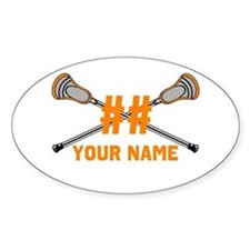 Personalized Crossed Lacrosse Sticks Orange Sticke