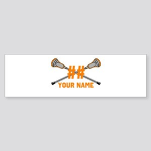 Personalized Crossed Lacrosse Sticks Orange Sticke