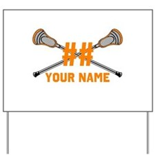 Personalized Crossed Lacrosse Sticks Orange Yard S