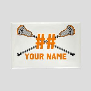 Personalized Crossed Lacrosse Sticks Orange Rectan