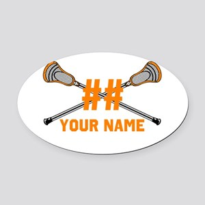 Personalized Crossed Lacrosse Sticks Orange Oval C