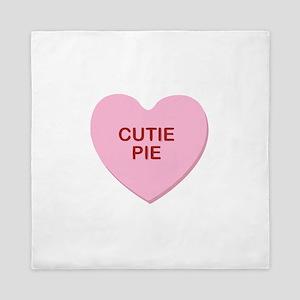 conversation heart - cutie pie Queen Duvet