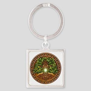 Sacred Celtic Trees - Oak Square Keychain