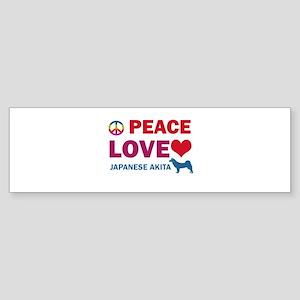 Peace Love Japanese Akita Sticker (Bumper)