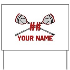 Personalized Crossed Goalie Lacrosse Sticks Red Ya