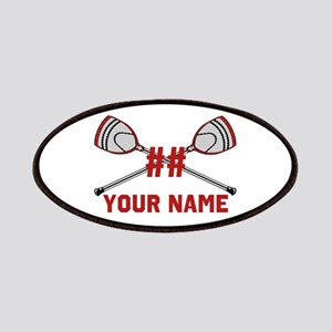 Personalized Crossed Goalie Lacrosse Sticks Red Pa