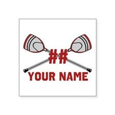 Personalized Crossed Goalie Lacrosse Sticks Red Sq