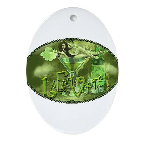 La Fee Verte In Glass Collage Ornament (Oval)