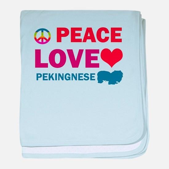 Peace Love Pekingnese baby blanket