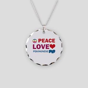 Peace Love Pekingnese Necklace Circle Charm