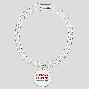 Peace Love Pekingnese Charm Bracelet, One Charm