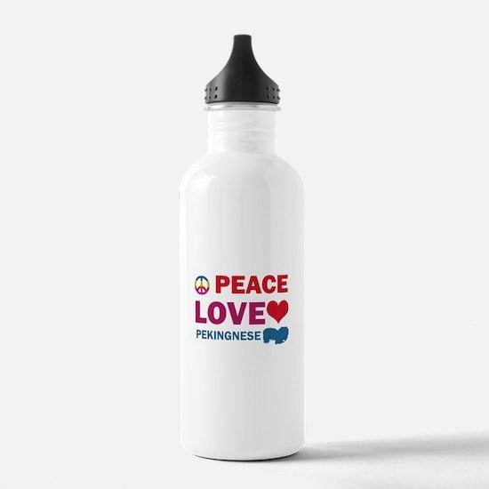 Peace Love Pekingnese Water Bottle