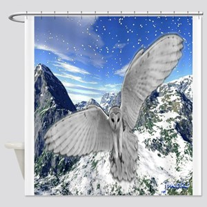 white owl wings oustretched art illustration Showe
