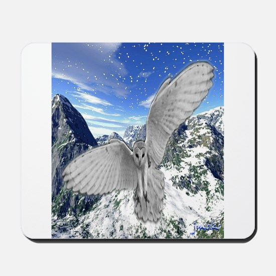 white owl wings oustretched art illustration Mouse