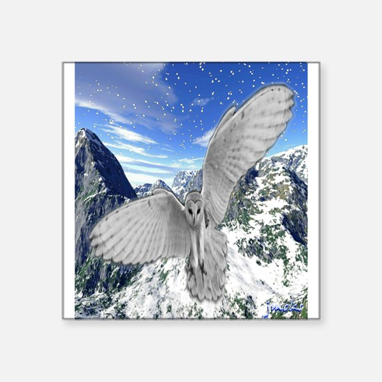 white owl wings oustretched art illustration Squar