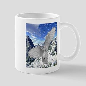 white owl wings oustretched art illustration Mug