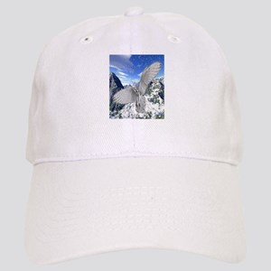white owl wings oustretched art illustration Cap