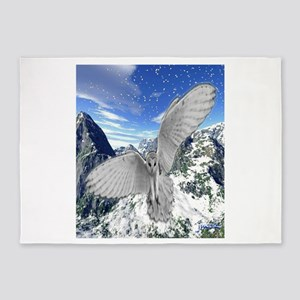 white owl wings oustretched art illustration 5'x7'