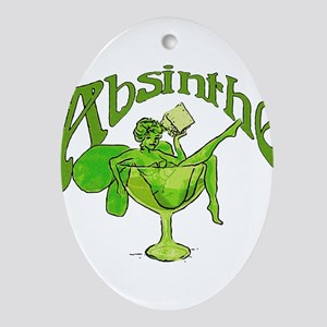 Absinthe Green Fairy In Glass Ornament (Oval)
