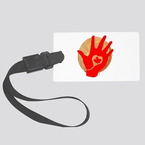 Idle No More - Red Hand and Drum Large Luggage Tag
