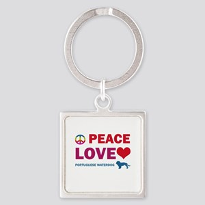 Peace Love Portuguese Waterdog Square Keychain