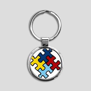 Autism Awareness Puzzle Round Keychain
