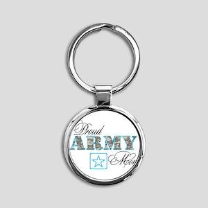 Proud Army Mom Round Keychain