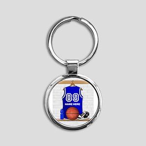 Personalized Basketball Jerse Round Keychain