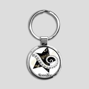 Music star gold black Round Keychain