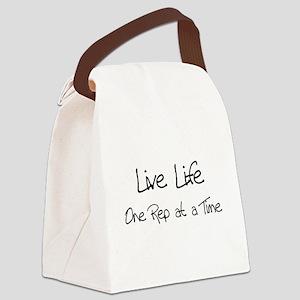 live life black Canvas Lunch Bag