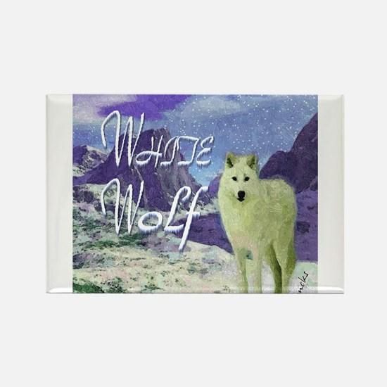 white wolf art illustration Rectangle Magnet