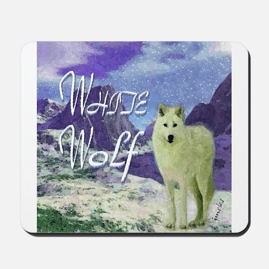 white wolf art illustration Mousepad