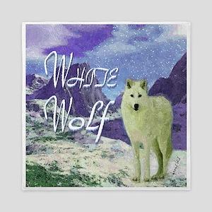 white wolf art illustration Queen Duvet