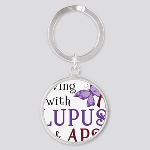 Living with Lupus APS Round Keychain