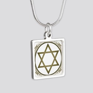 Star Of David Silver Square Necklace